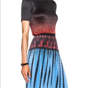 ALEXANDER WANG pleated plisse midi skirt blue red